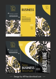 trifold brochure templates elegant dark design leaves decor