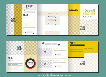 trifold brochure templates modern bright checkered decor