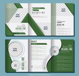 trifold brochure templates modern elegant green checkered decor