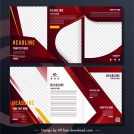trifold business brochure template modern checkered design