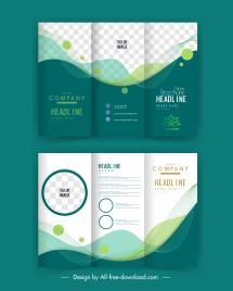 trifold corporate brochure templates elegant checkered curves decor