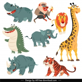 tropical animals icons cute cartoon character sketch