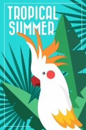 tropical background leaves parrot icons colorful design