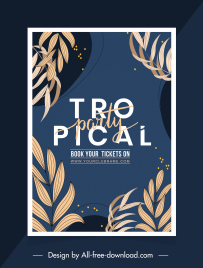 tropical banner template elegant dark classic leaves decor