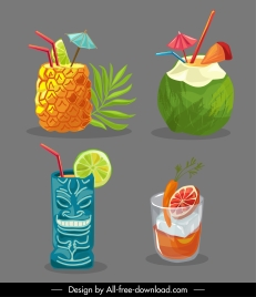 tropical beverages icons classical handdrawn sketch