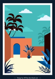 tropical frontage template colored classic sketch