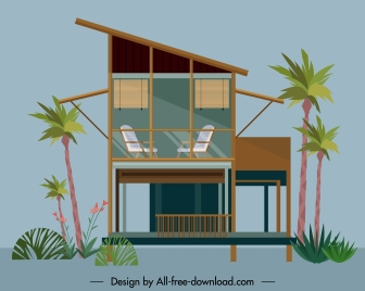 tropical house template classic decor flat sketch