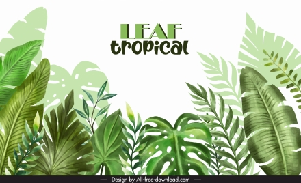 tropical leaves background template bright green classic design