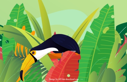 tropical nature painting colorful leaves toucan bird sketch