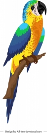 tropical parrot icon colorful perching sketch