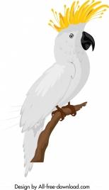 tropical parrot icon white feather sketch cartoon design
