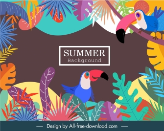 tropical summer background colorful parrots leaves decor