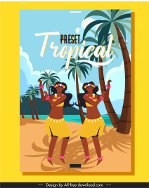 tropical summer holiday poster local dancers beach scene