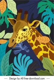 tropical wilderness painting giraffe leaves sketch
