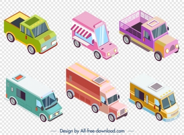 truck icons collection colored modern 3d design