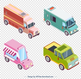 truck icons collection colorful 3d sketch