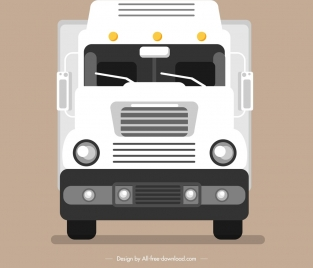 trucking lorry icon front side sketch white decor
