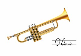 Trumpet isolated on white vector art