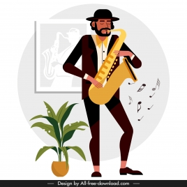 trumpet player icon colored cartoon character performing gesture