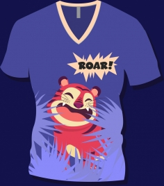 tshirt template cartoon tiger icon decor blue design
