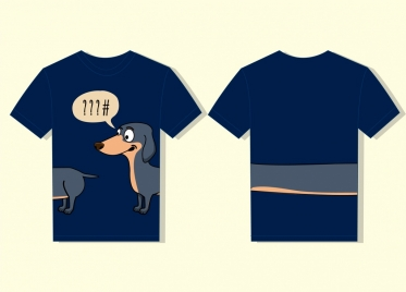 tshirt template cute funny dog icon long tail