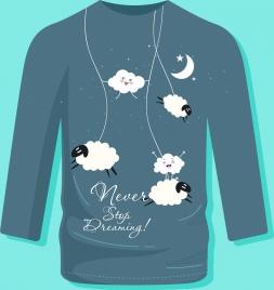 tshirt template dream theme cloud moon sheep icons