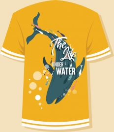tshirt template whale icon orange design