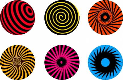 twist circles icons flat colorful decor
