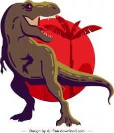 tyrannousaurus rex dinosaur painting dark classical sketch