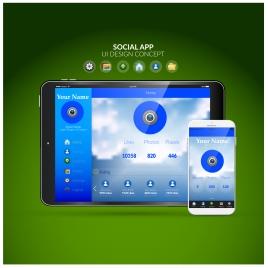 ui design concept design with social appliance illustration