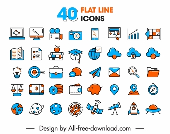 ui icons collection flat classical sketch