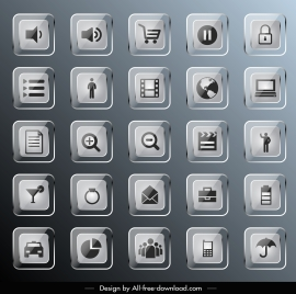 ui icons collection shiny glass square decor