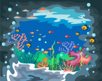 underwater life background colorful cartoon decoration
