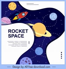universe background planets spaceship decor colorful design