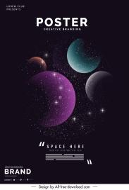 universe poster template modern dark twinkling decor