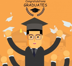 university graduation banner bachelor icon colored cartoon