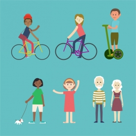 urban people icons collection various types in colors