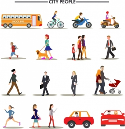 urban people icons isolation various types and colors