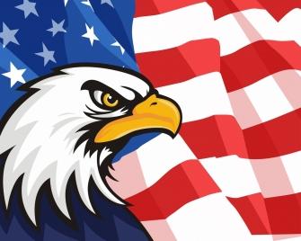 usa background flag eagle icons decor