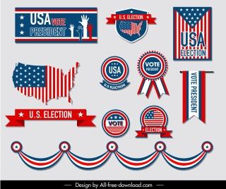 usa election design elements flag symbols decor