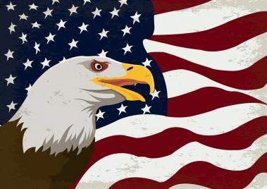 usa flag background eagle icon decor retro design
