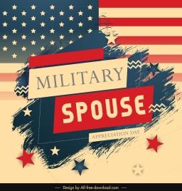 usa military spouse banner retro flag elements decor