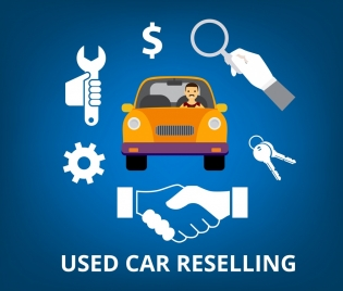 used car sales banner tool gear currency icons