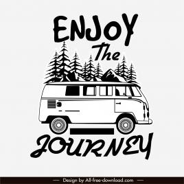vacation banner black white retro bus sketch