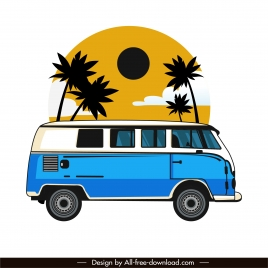 vacation bus icon colored flat classic sketch