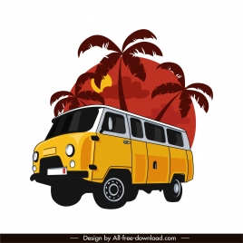 vacation design element bus coconut sketch classical design