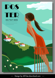 vacation poster relaxing girl mountain lake scene sketch