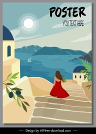 vacation poster template mediterranean sea scene lady sketch