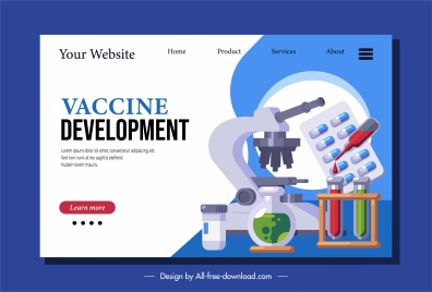 vaccination webpage template medical equipment tool sketch