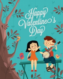 valentine banner cute couple birds tree colored cartoon